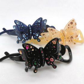 Hårspænde – sommerfugl med rhinsten