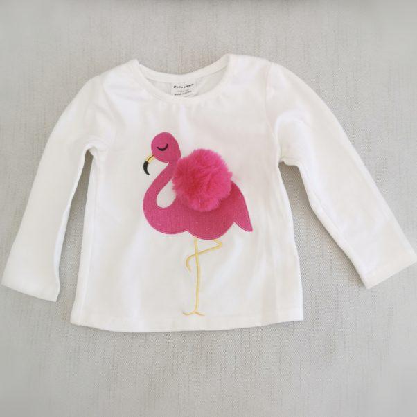 Sød bluse med flamingo