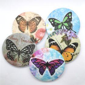 Fint lille håndtaskespejl med sommerfugl