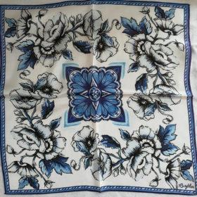 Silketørklæde – Blå blomst