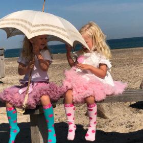 Knæstrømper – mintfarvede med pink prikker