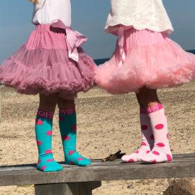 Knæstrømper – rosafarvede med pink prikker
