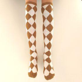Knæstrømper – savanna brune og hvidternede