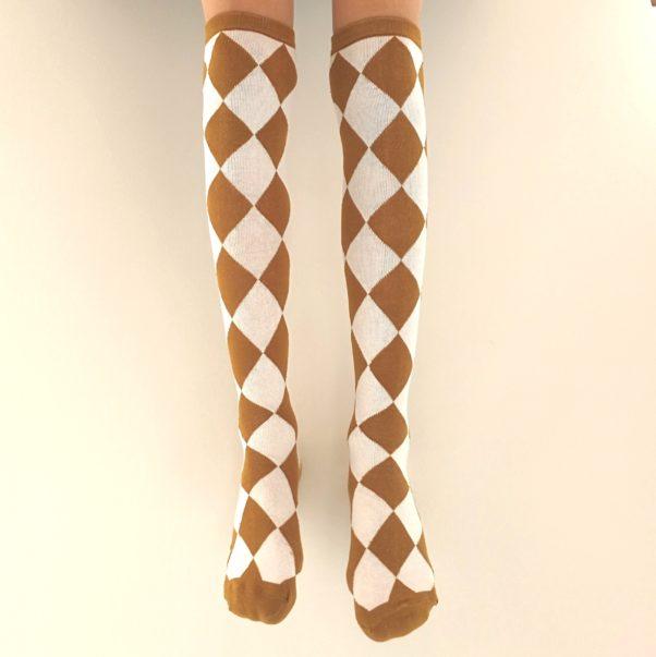 Knæstrømper - savanna brune og hvidternede