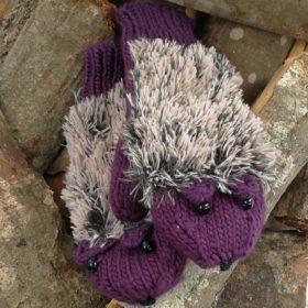 Søde pindsvine vanter – lilla