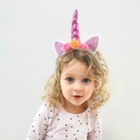 Enhjørning hårbøjle – blomst med pink