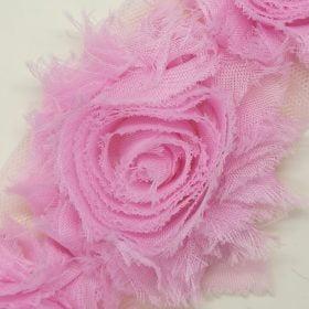 Stofblomster på tylnet – italien pink
